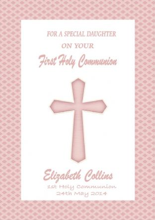 Personalised Girl Communion Card Pink Cross 1